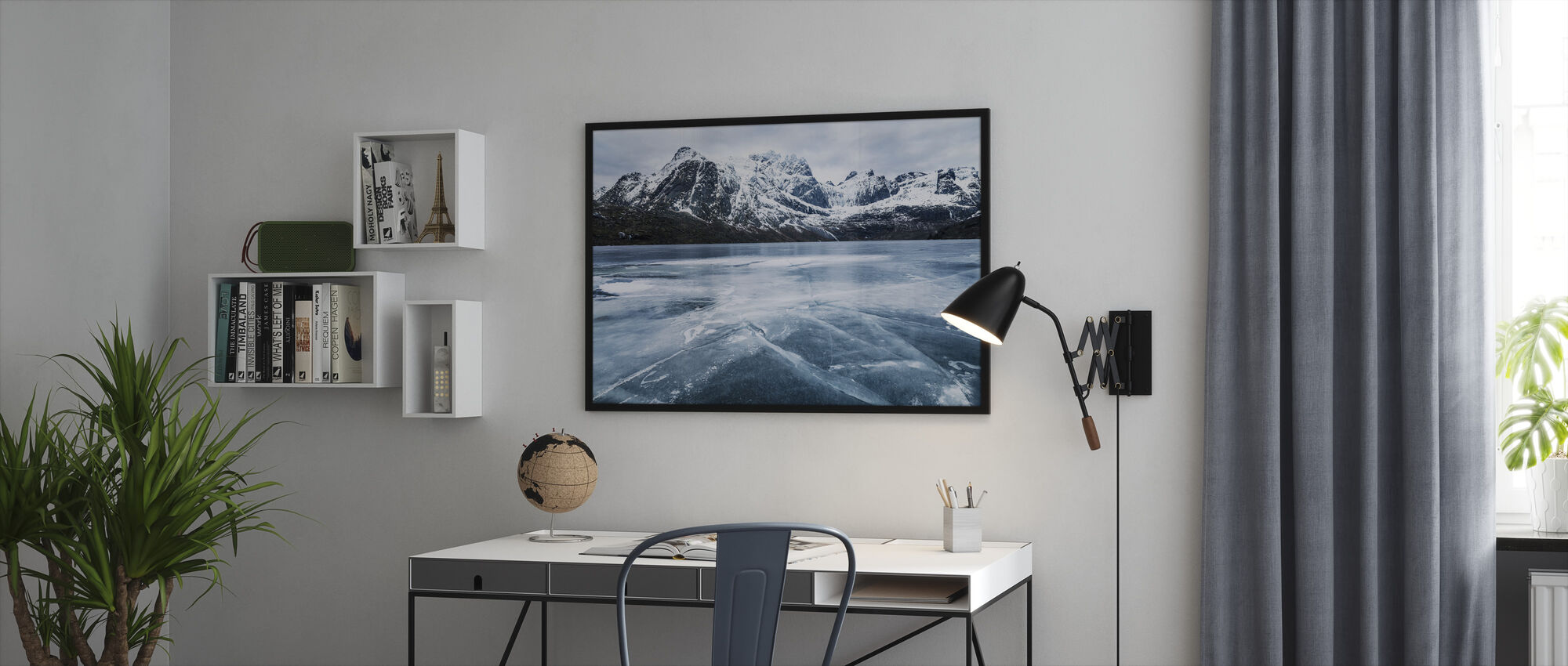 Frozen Water and Mountain Range - Framed print - Office