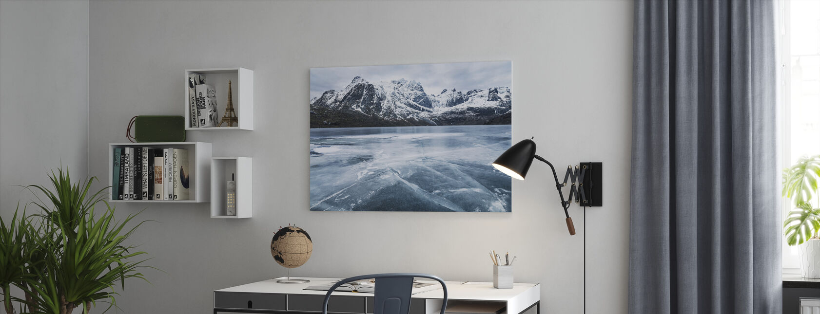 Frozen Water and Mountain Range - Canvas print - Office