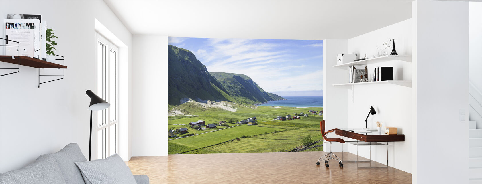 Buildings Among Green Fields, Norway - Wallpaper - Office