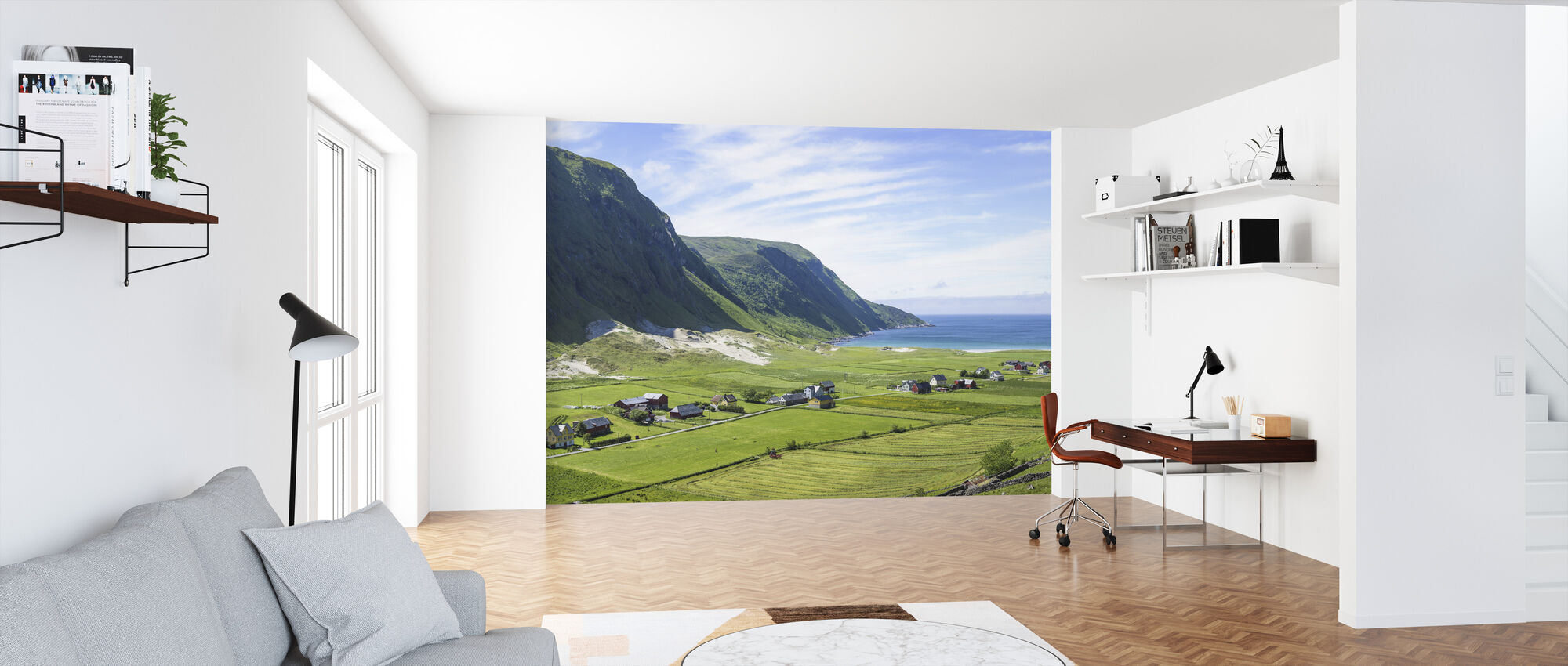 Buildings Among Green Fields, Norway - Wallpaper - Office