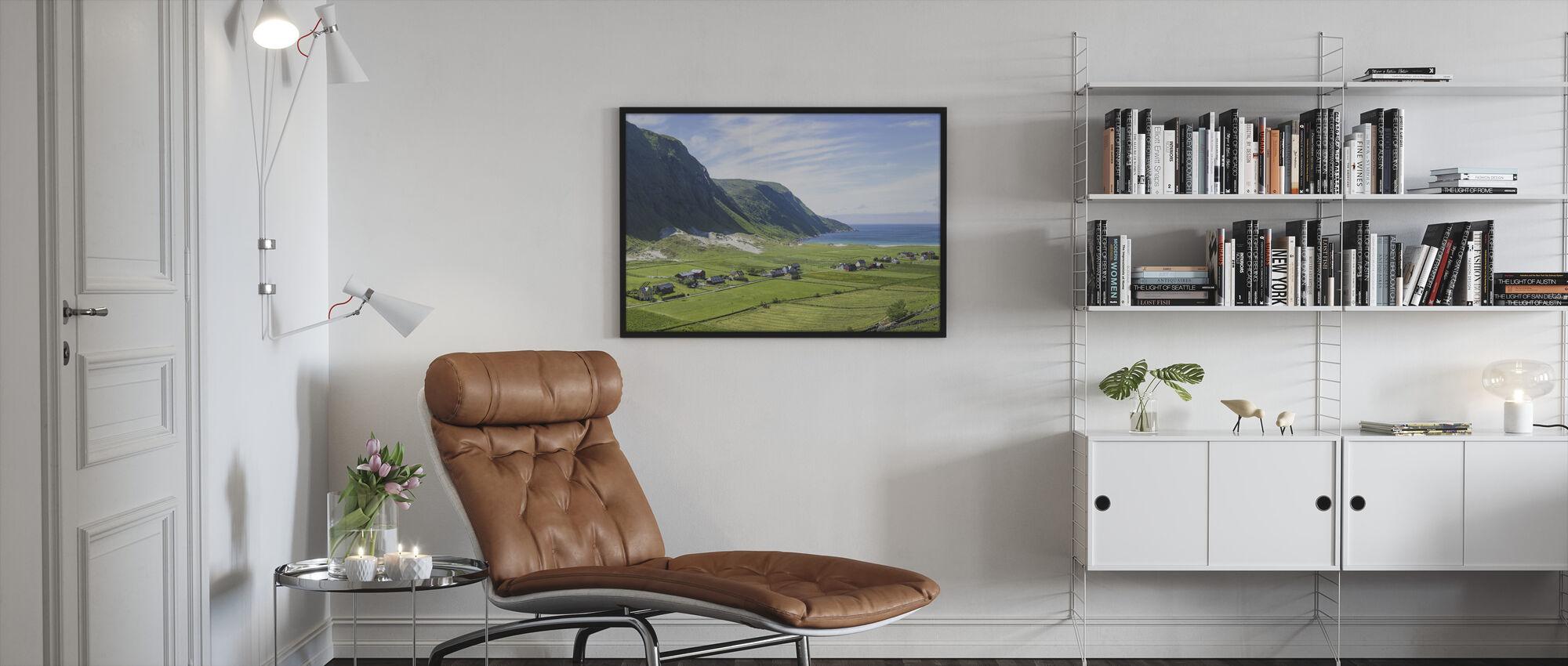 Buildings Among Green Fields, Norway - Framed print - Living Room