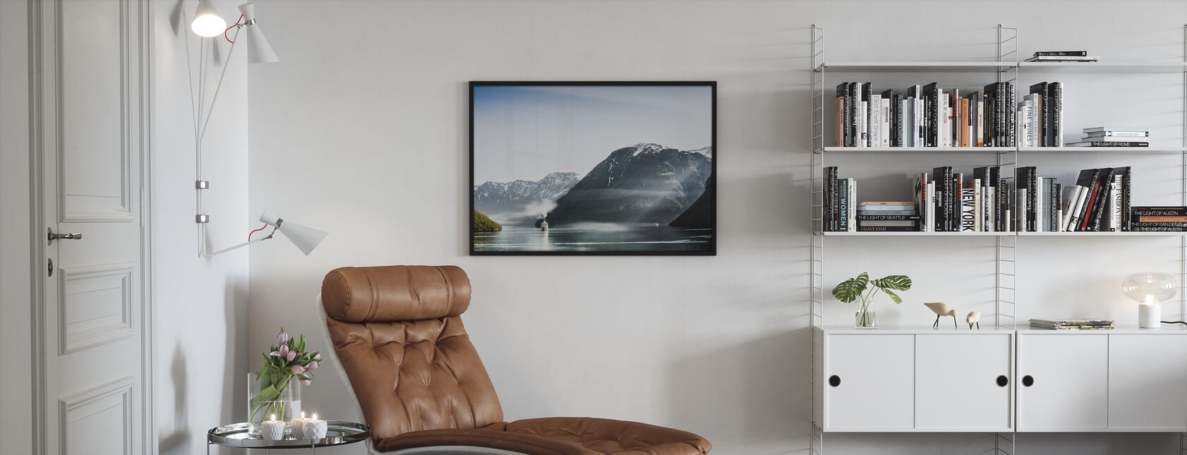Cruise Boat Passes Geiranger Fjord, Norway - Framed print - Living Room