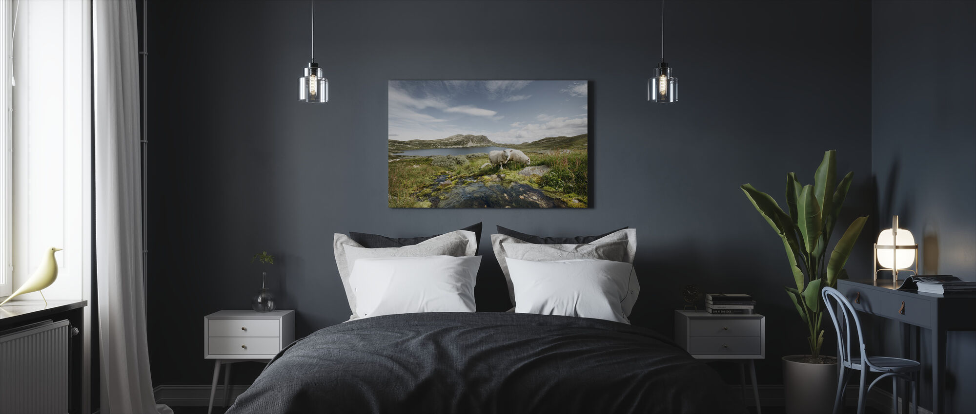Sheep by Lake in Norway - Canvas print - Bedroom