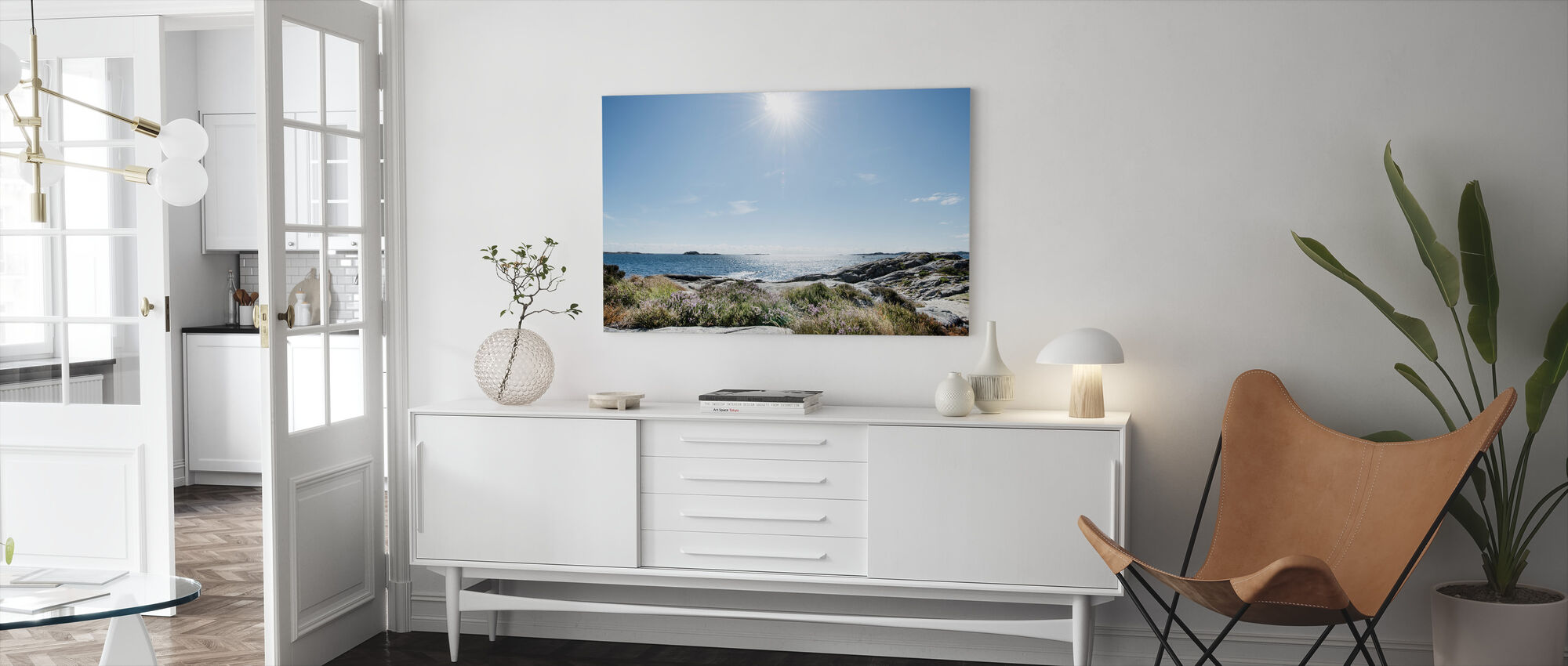 Sea in Bright Sunlight, South Norway - Canvas print - Living Room