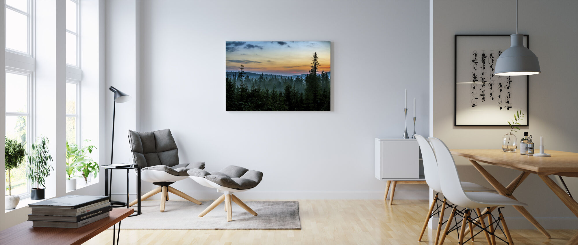Early Morning in Fir Forest - Canvas print - Living Room