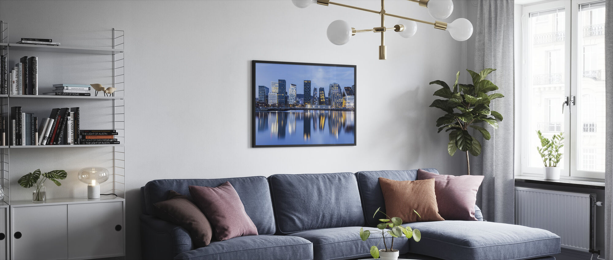 Oslo bybilde etter natt, Norge - Innrammet bilde - Stue