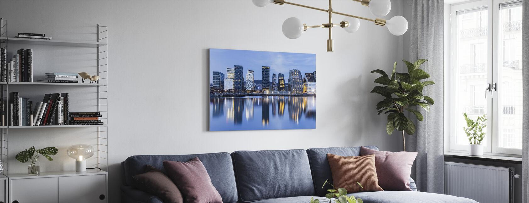 Oslo bybilde etter natt, Norge - Lerretsbilde - Stue