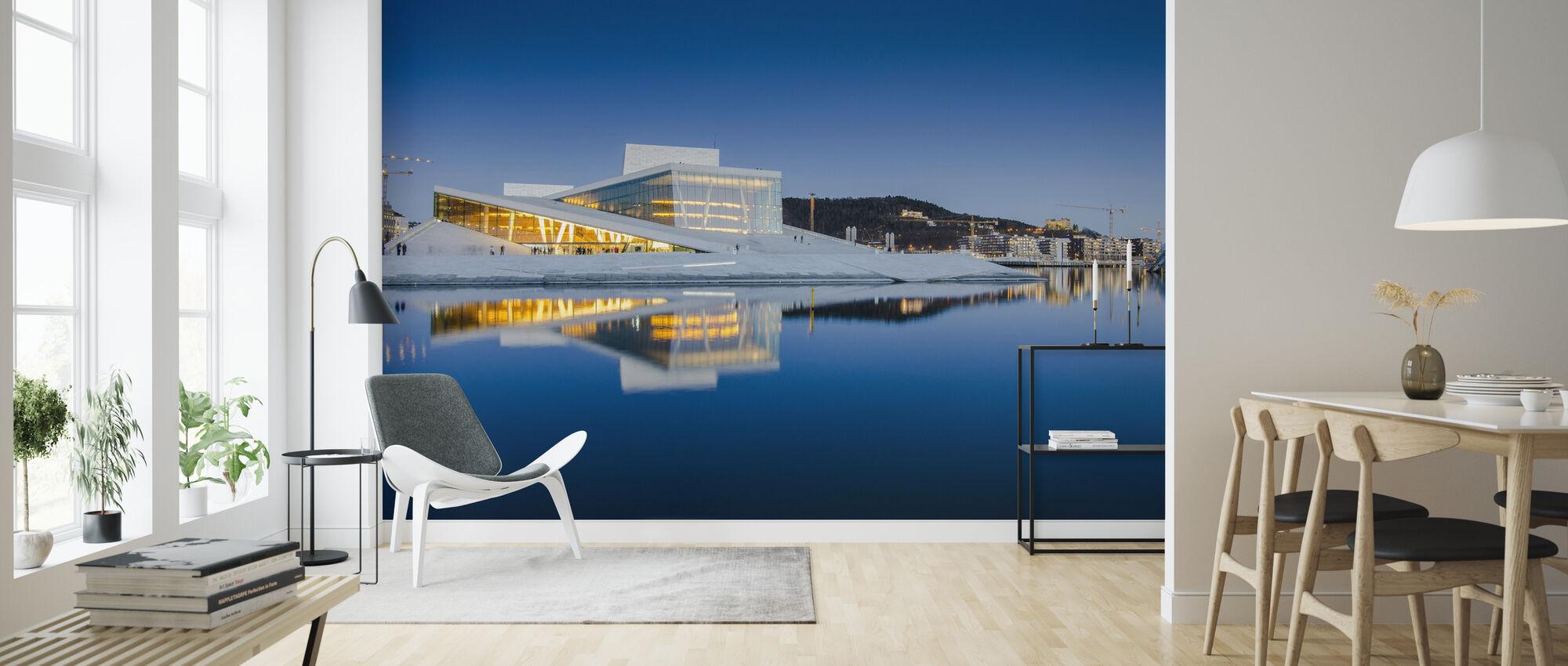 Oslos operahus på natten - Tapet - Vardagsrum