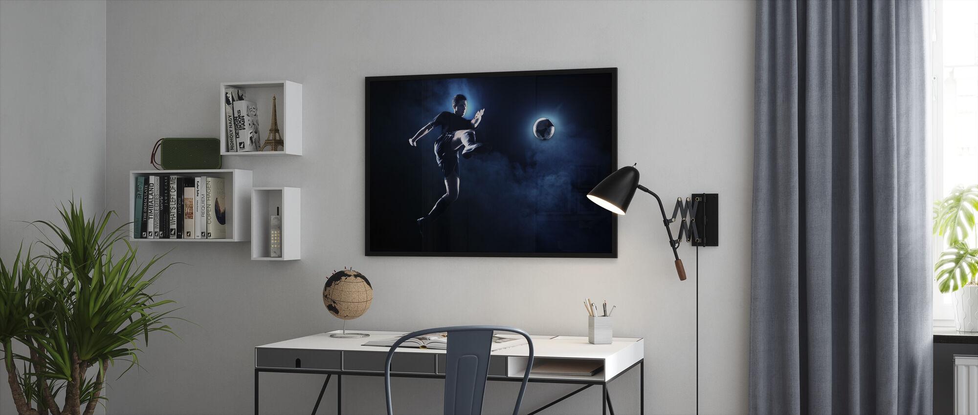 Blue Smoke Soccer - Framed print - Office