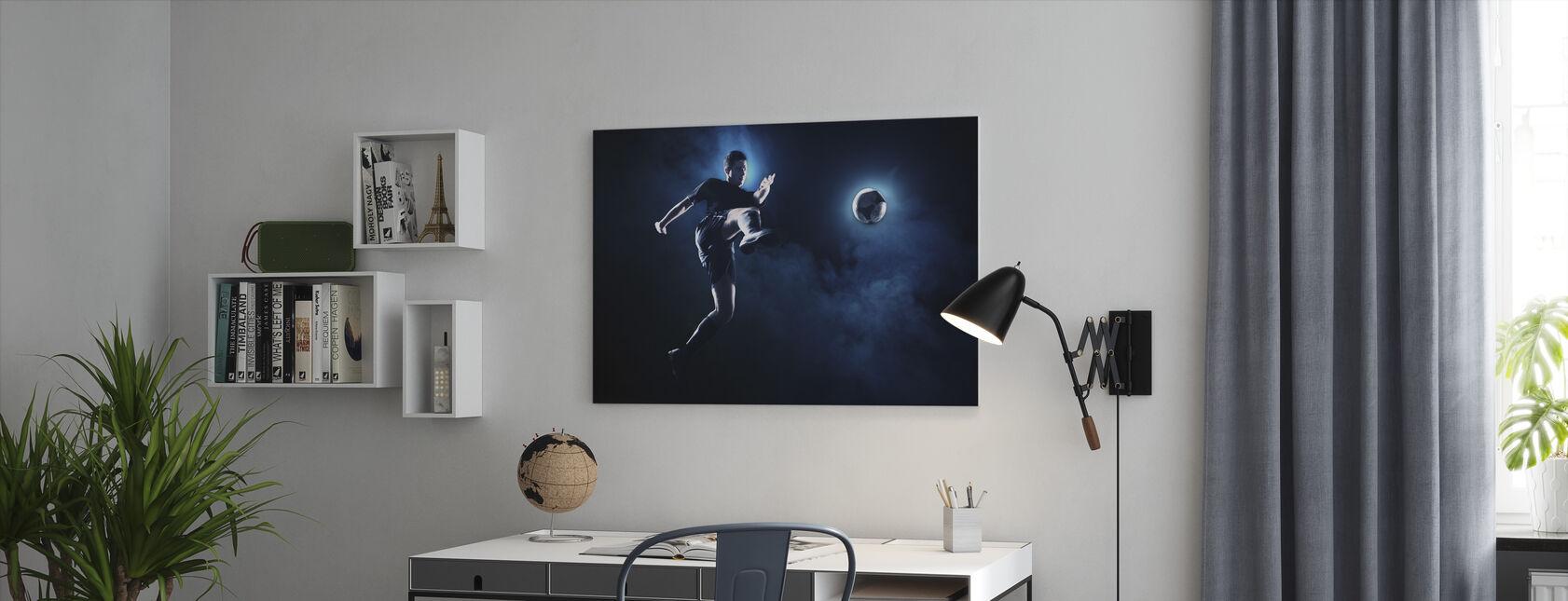 Blue Smoke Soccer - Canvas print - Office