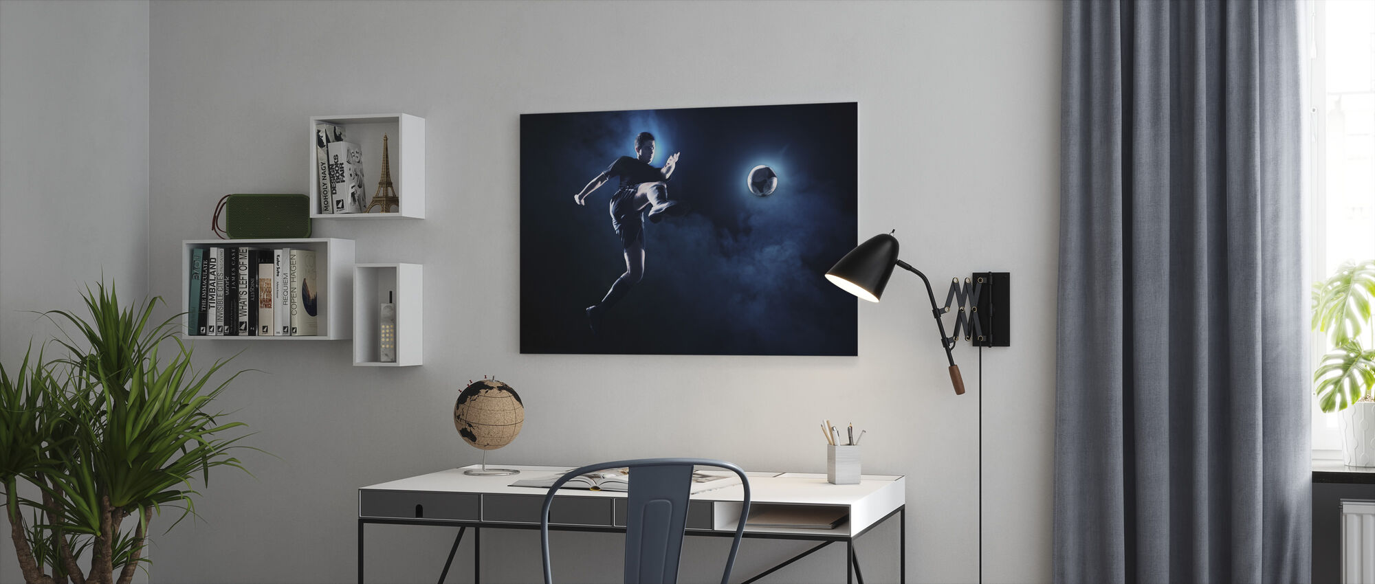 Blue Smoke Soccer - Canvas print - Office