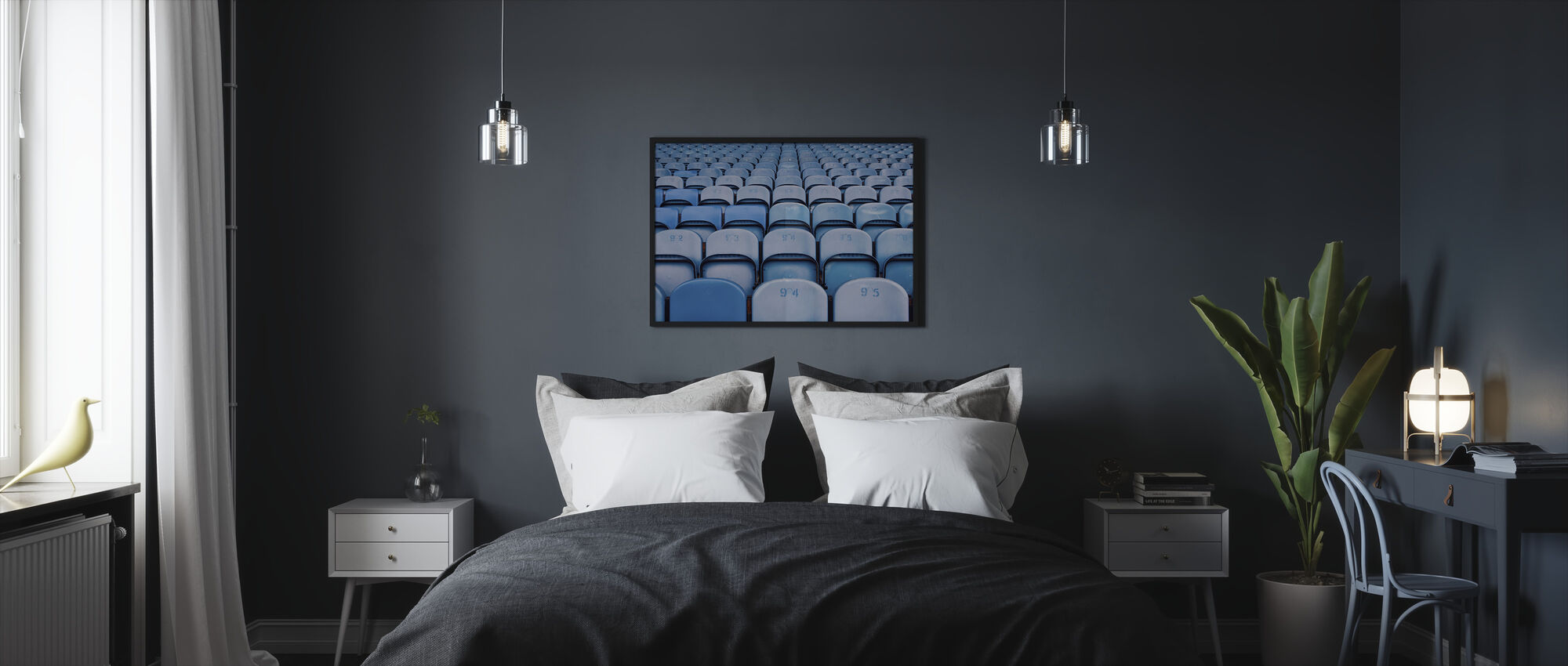 Blue Lighter Chairs - Framed print - Bedroom