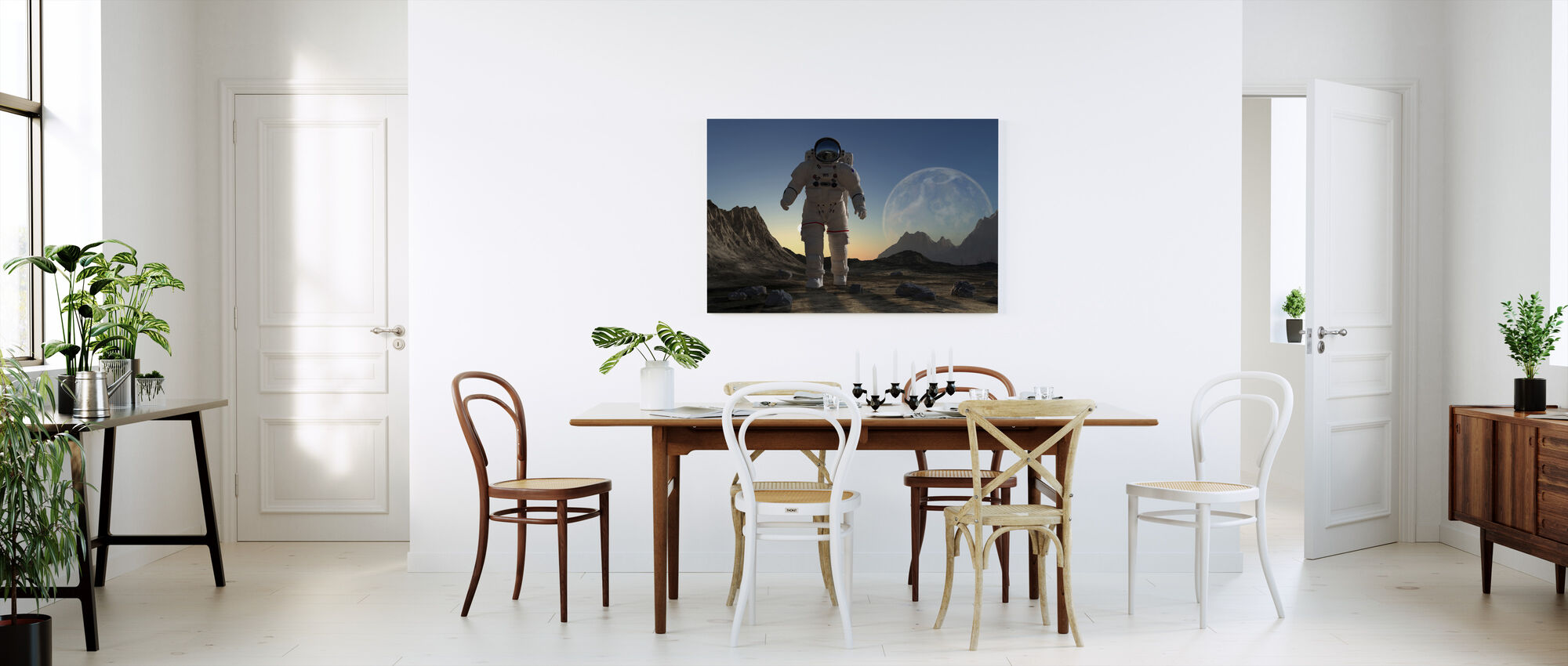 Astronaut in Space Sunset - Canvas print - Kitchen
