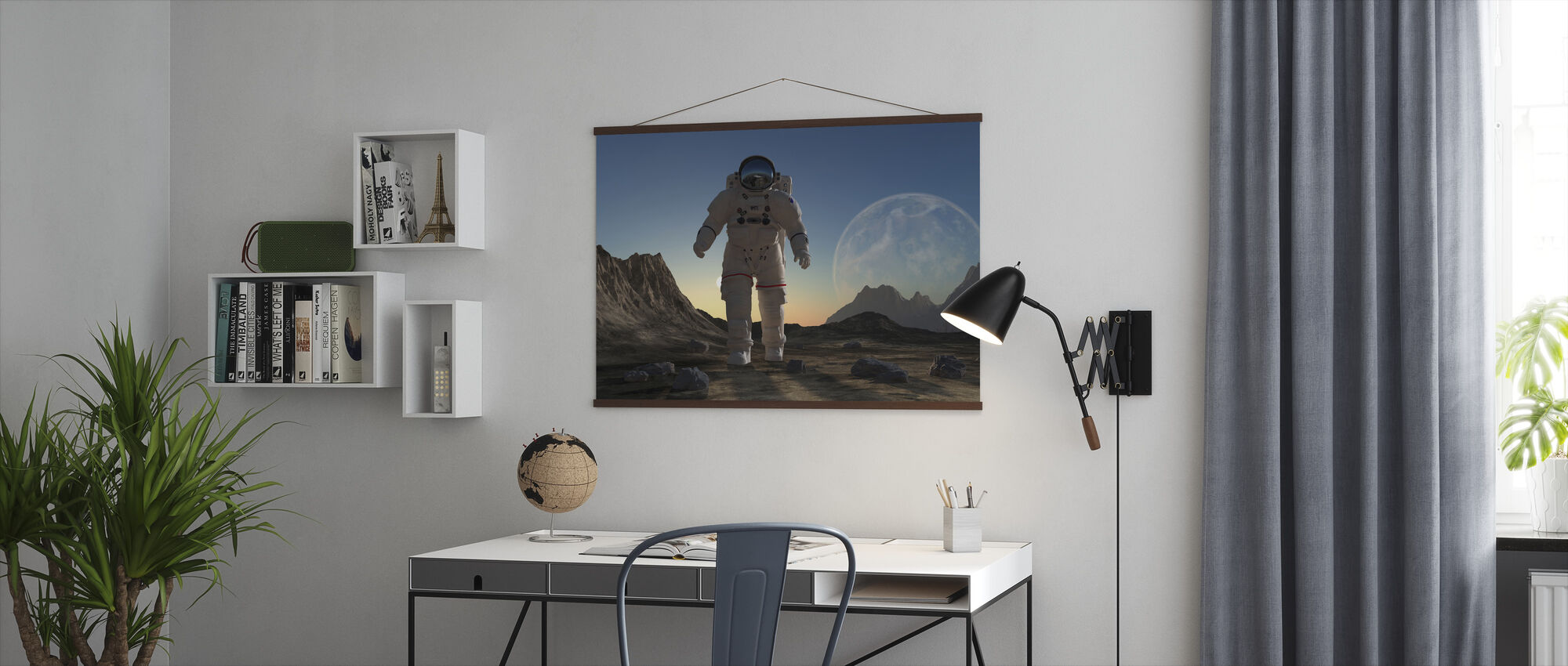 Astronaut in Space Sunset - Poster - Office