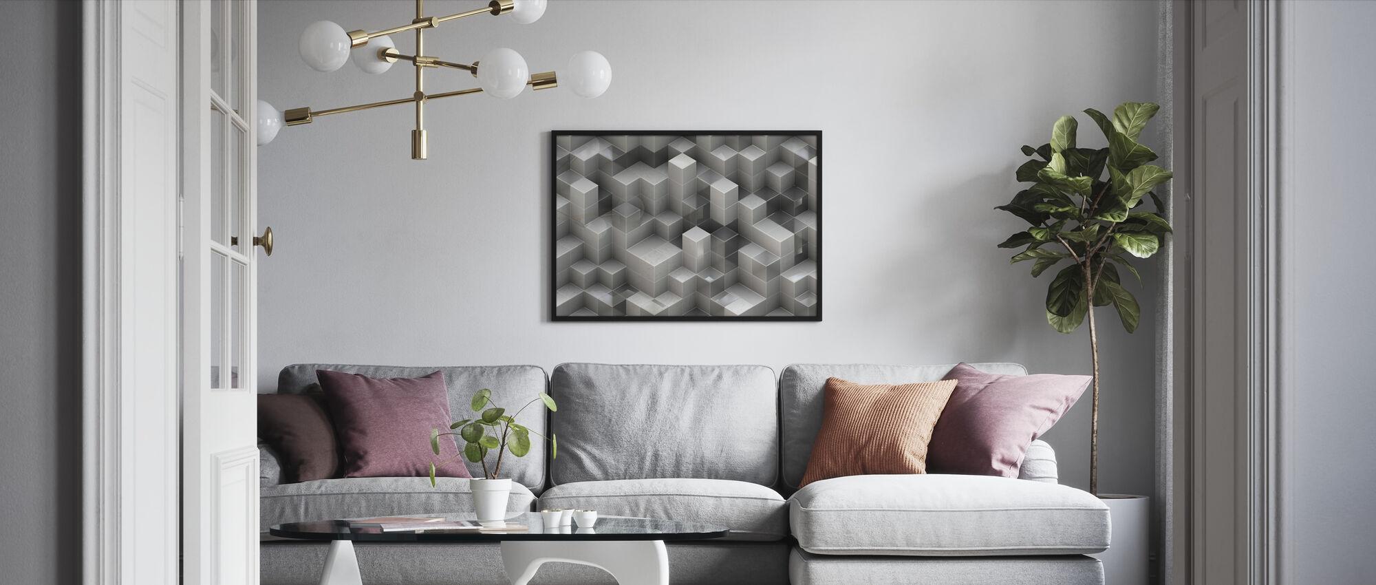 3D Construction - Framed print - Living Room
