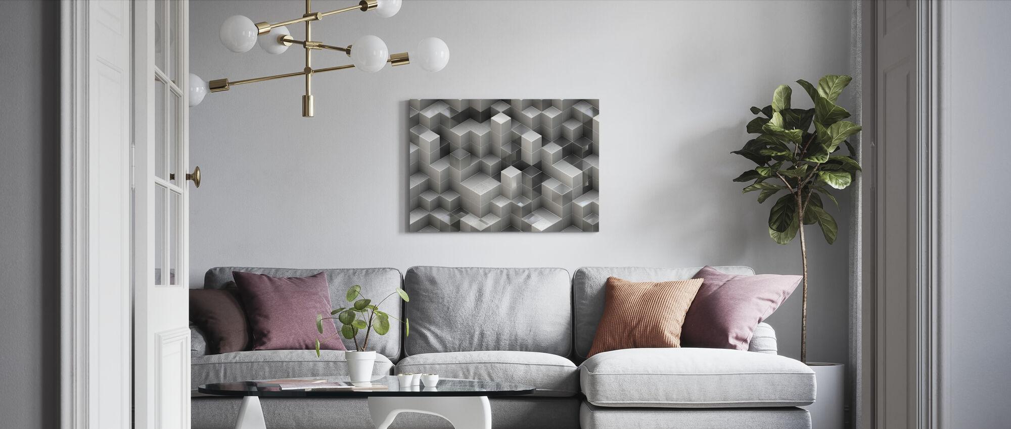 3D Konstruktion - Canvastavla - Vardagsrum