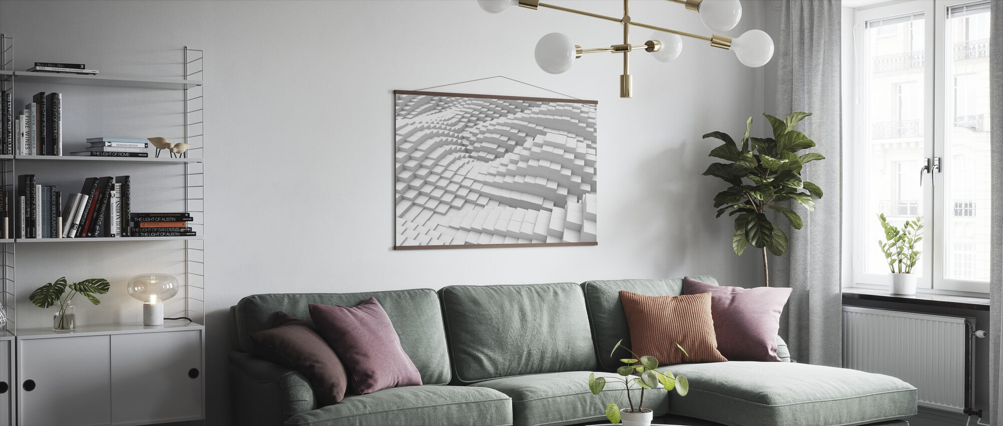 Flowing Cubes - Poster - Living Room