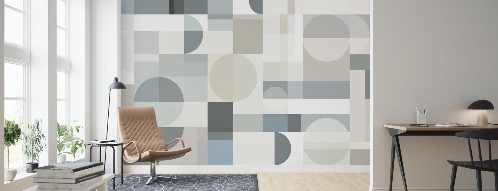 Geometry - Beige - Wallpaper - Living Room