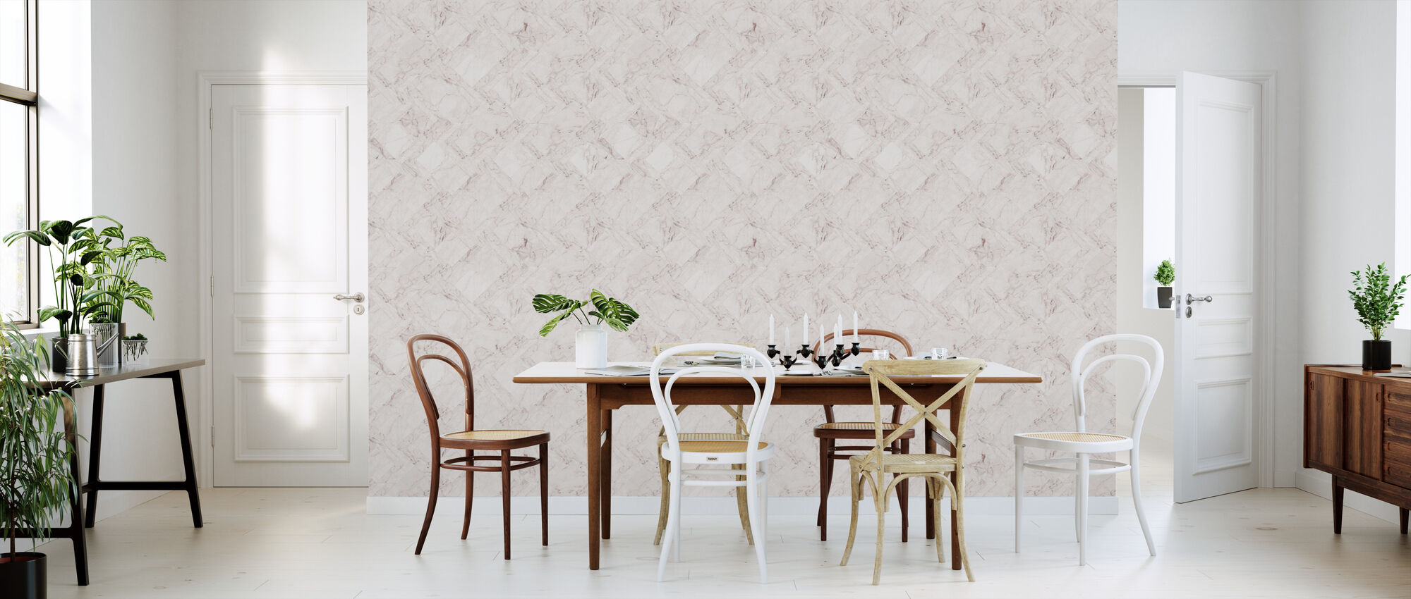 Marble Tiles - Pink - Wallpaper - Kitchen