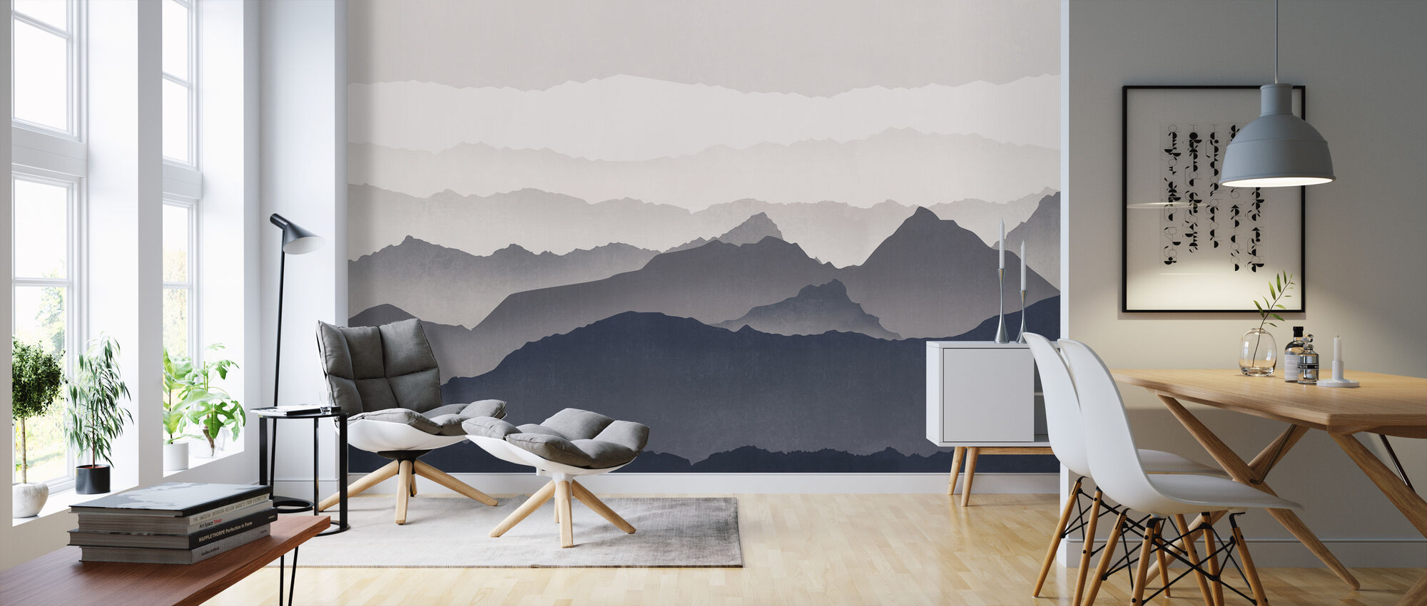 Misty Landscape - Blue - Wallpaper - Living Room