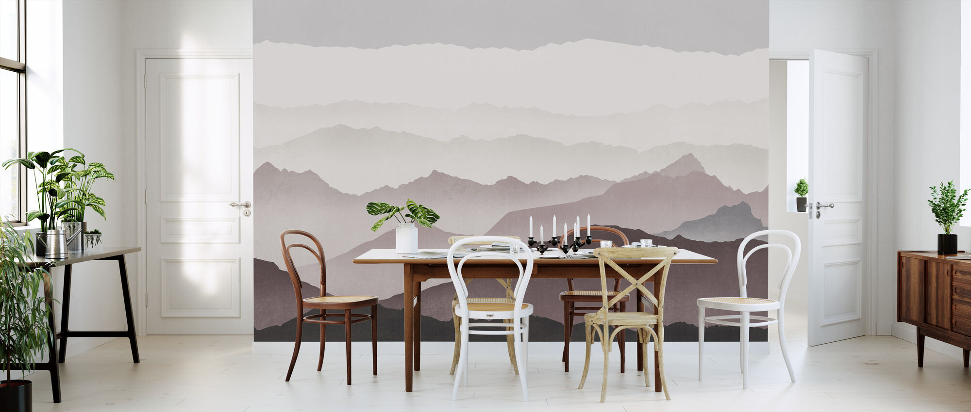Misty Landskap - Plomme - Tapet - Kjøkken