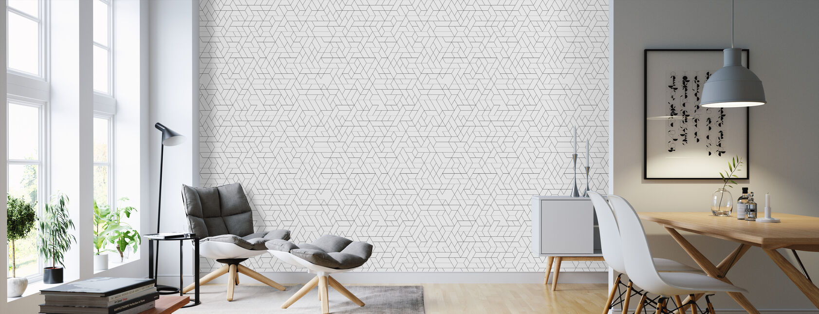 Tracks - Black - Wallpaper - Living Room