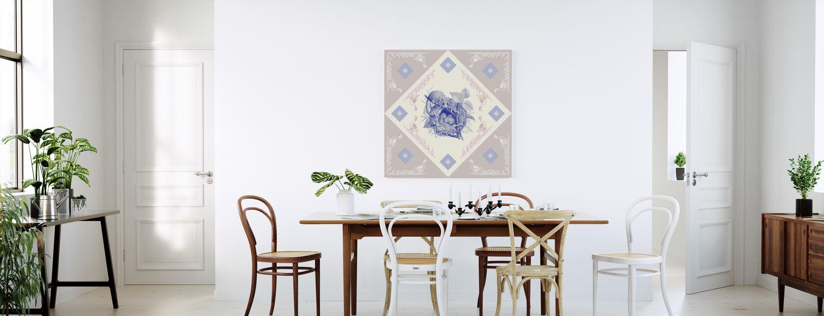 Slaapmuis, Blauw Roze - Canvas print - Keuken