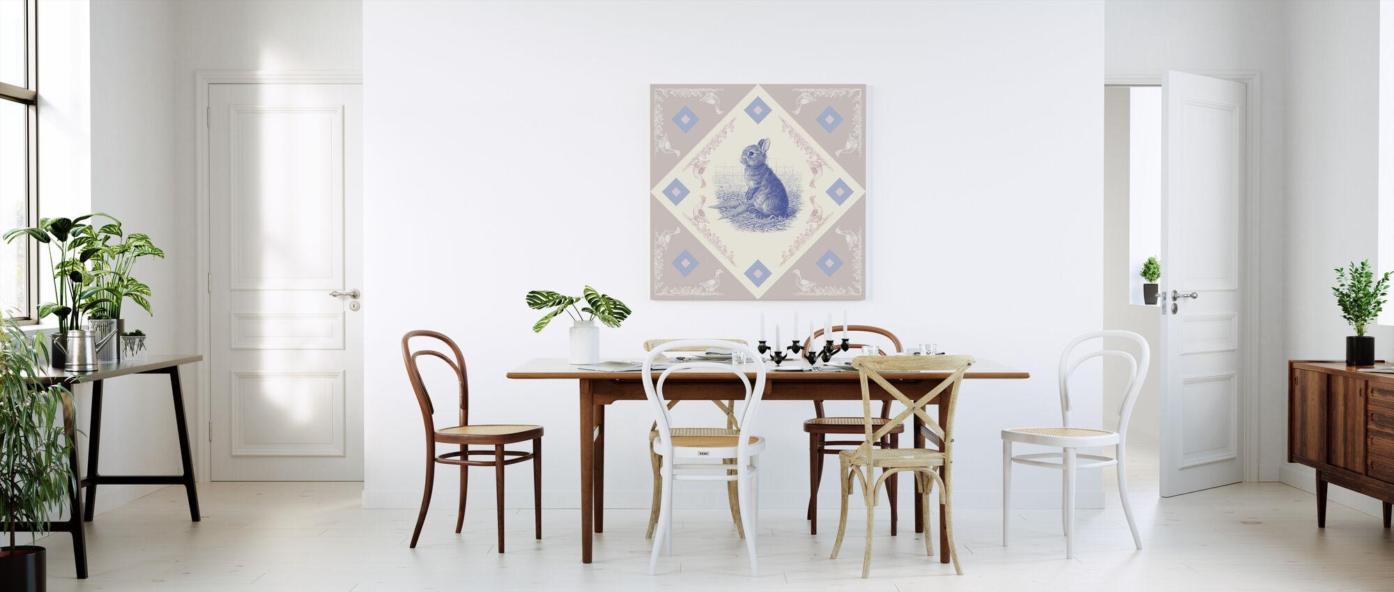 Rabbit, Blue Pink - Canvas print - Kitchen