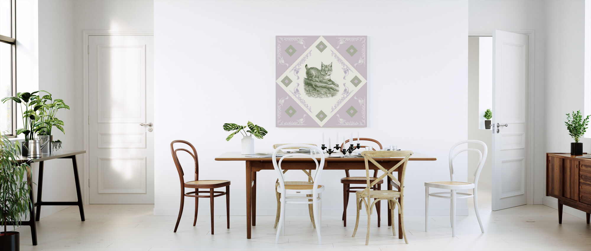 Lynx, Groen Paarse - Canvas print - Keuken
