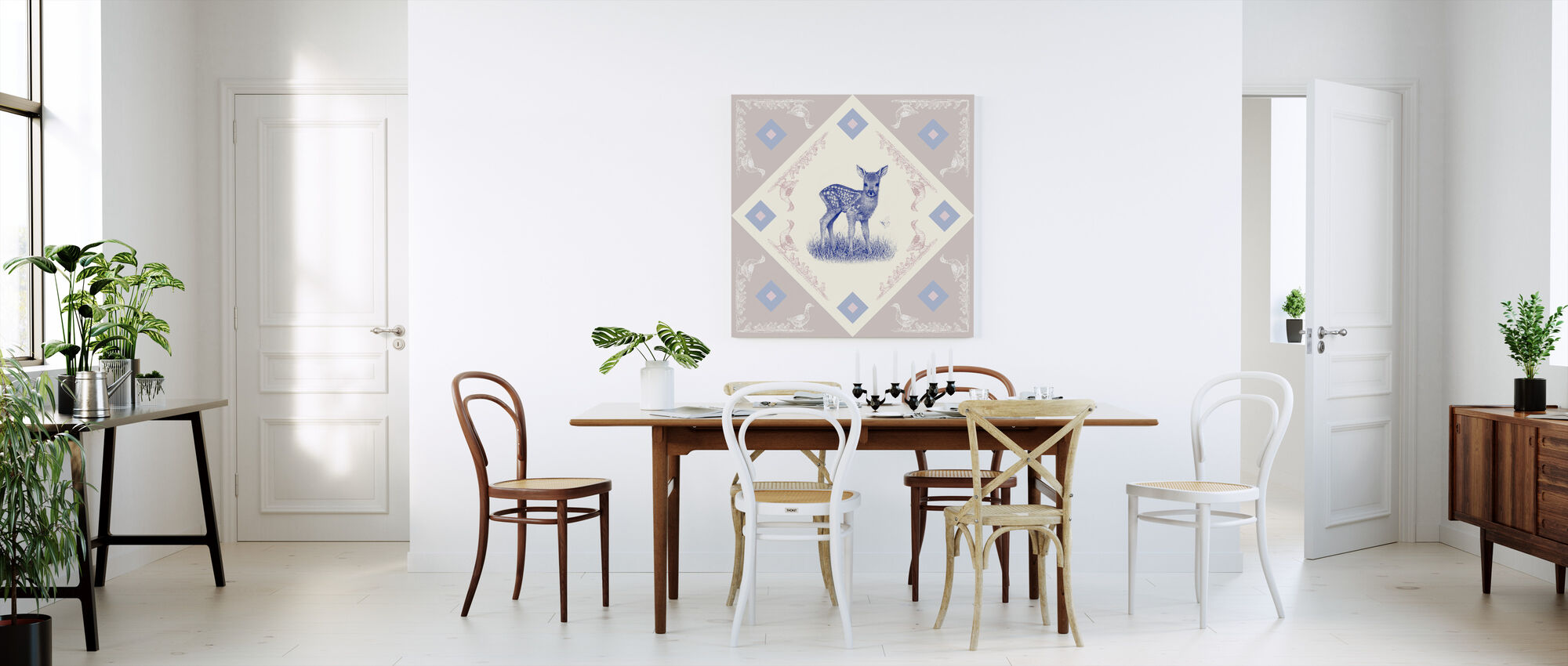 Hjort, Blå Rosa - Canvastavla - Kök