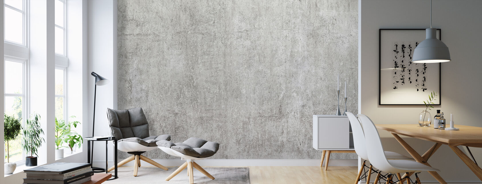 Industriel betonvæg - Tapet - Stue