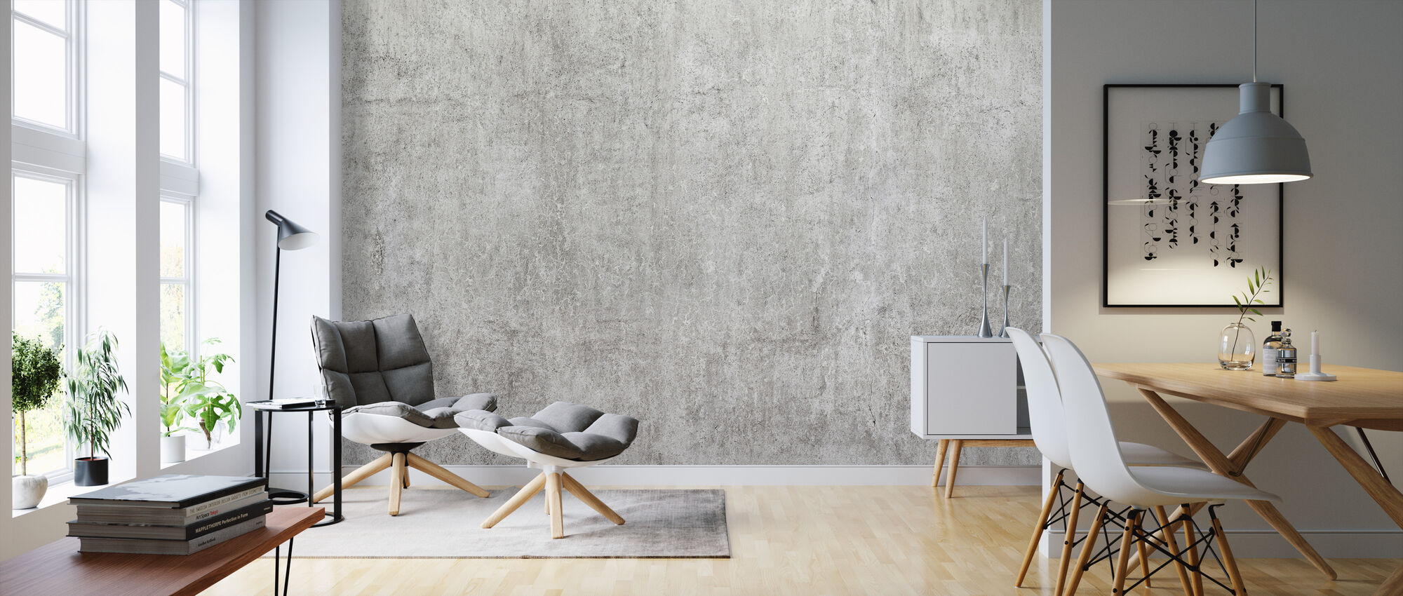Industrielle Betonwand - Tapete - Wohnzimmer