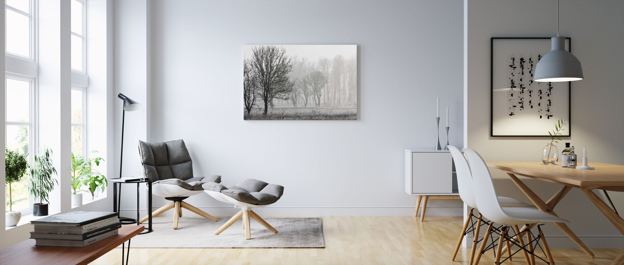 Frost in the Forest, black and white - Canvas print - Living Room