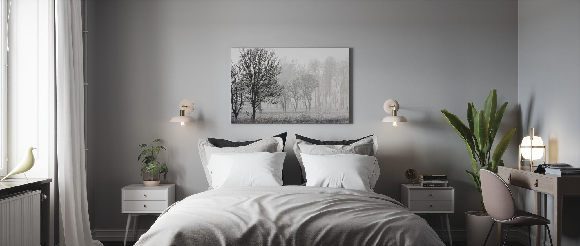 Frost in the Forest, black and white - Canvas print - Bedroom