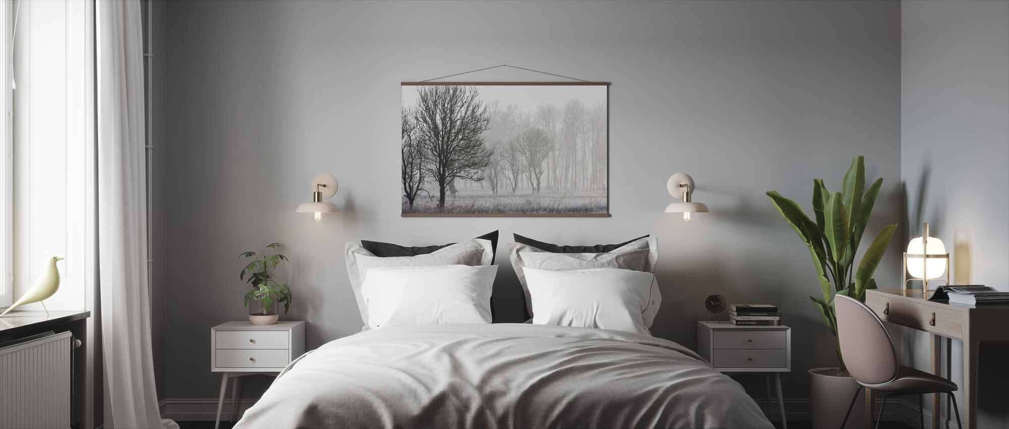 Frost in the Forest, black and white - Poster - Bedroom