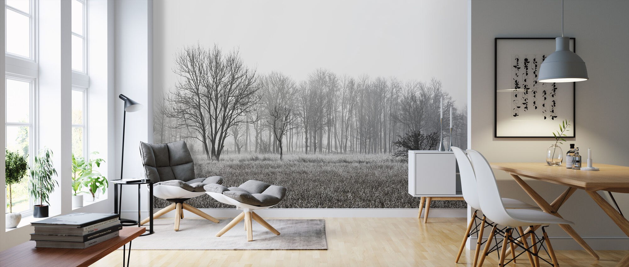 Frosty Morning, black and white - Wallpaper - Living Room