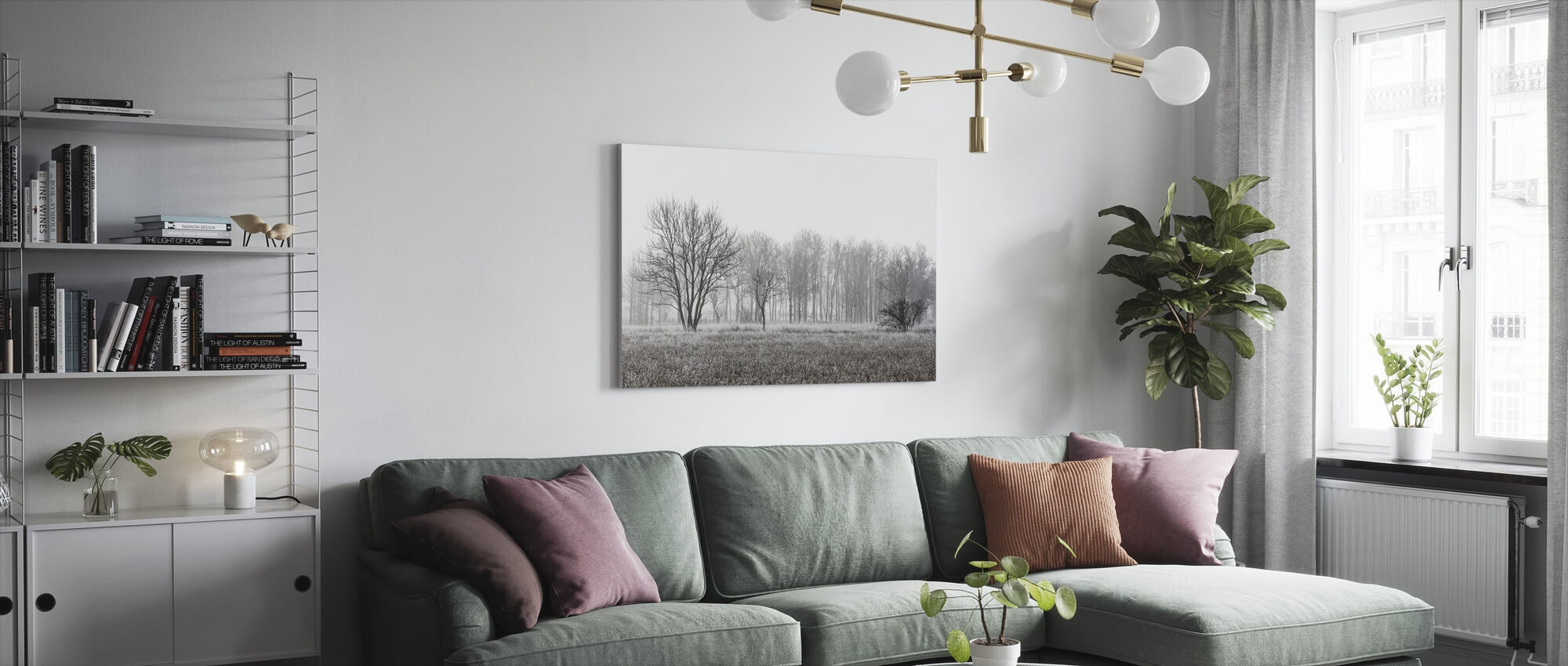 Frosty Morning, black and white - Canvas print - Living Room