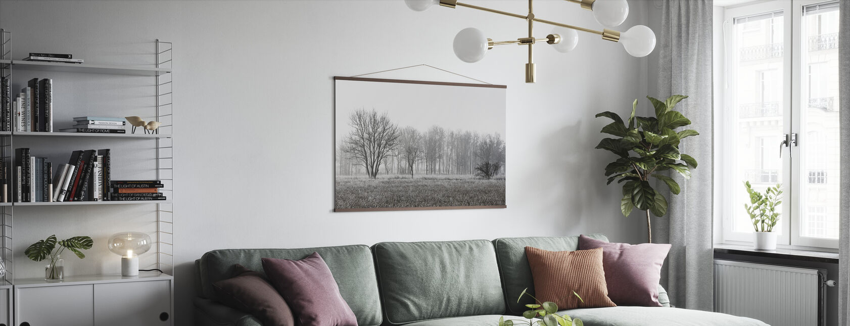 Frosty Morning, black and white - Poster - Living Room