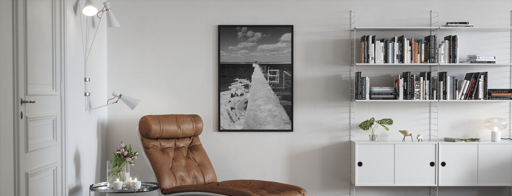 Lime Bridge Abstracto, preto e branco - Print enmarcado - Salón