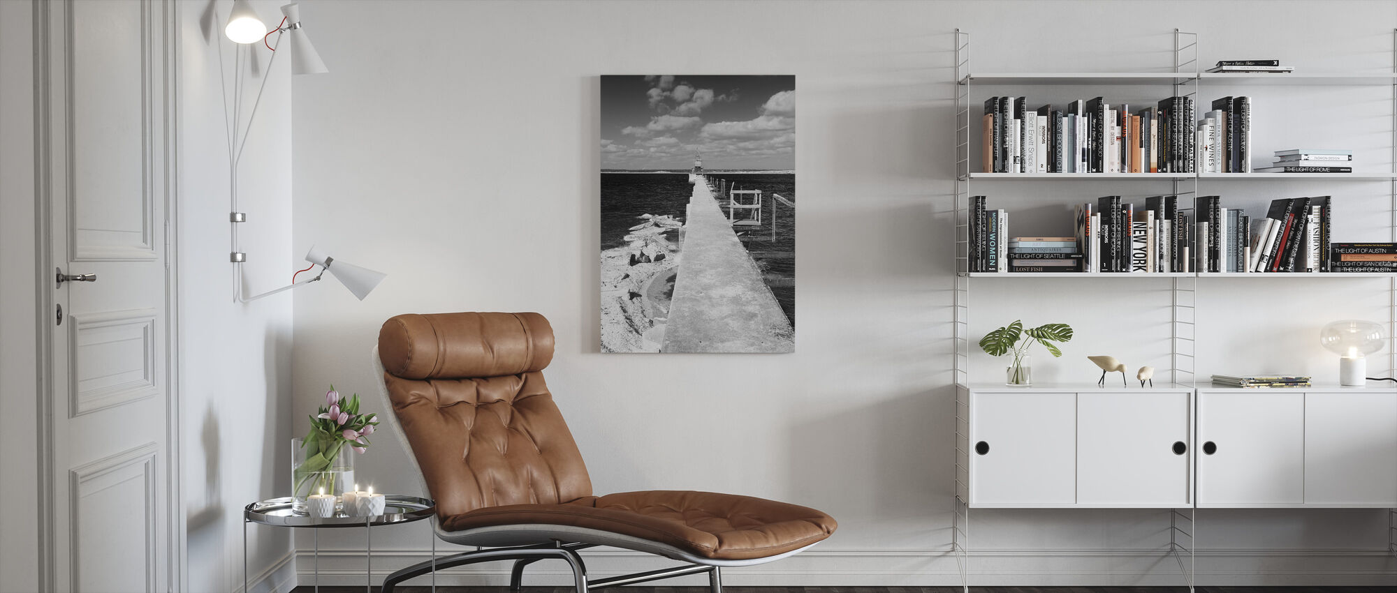 Lime Bridge Abstrakt, sort og hvid - Billede på lærred - Stue