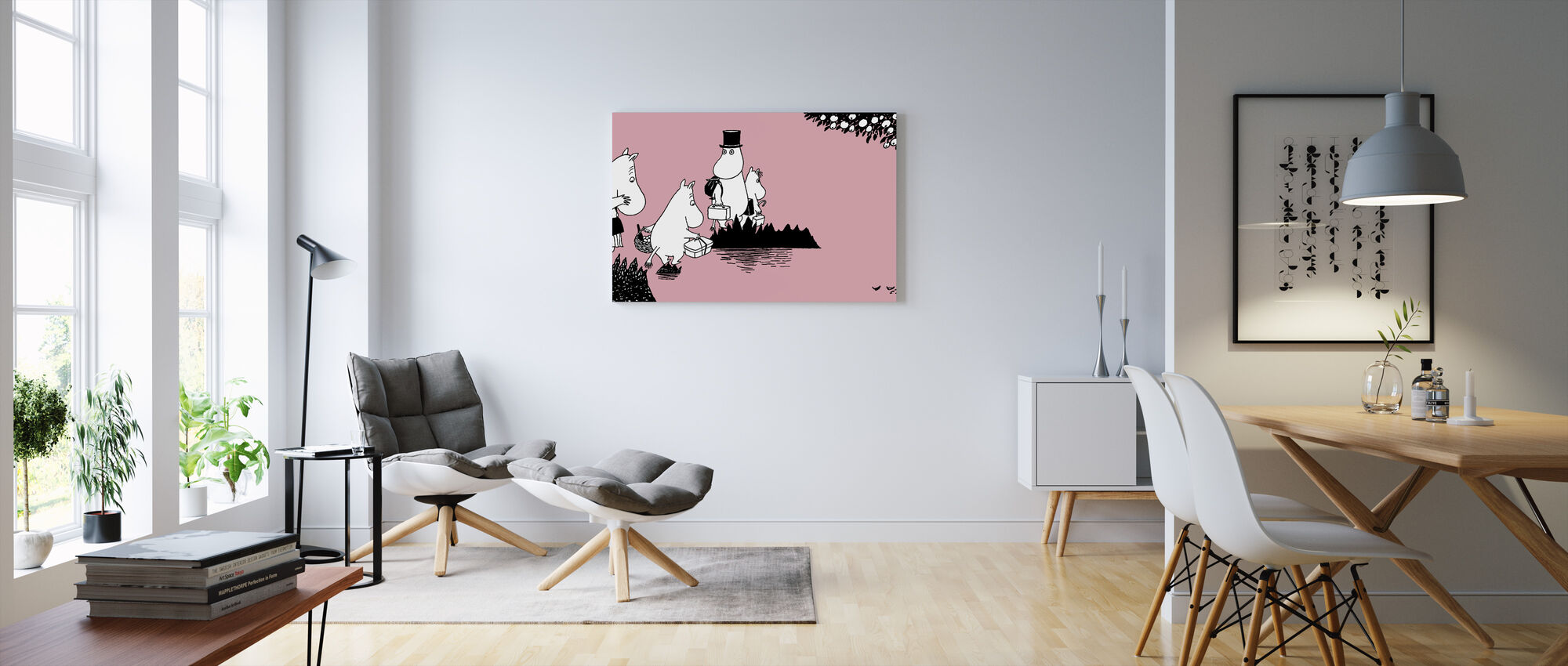 Moomin - Moomin familie på eventyr — Pink - Lerretsbilde - Stue