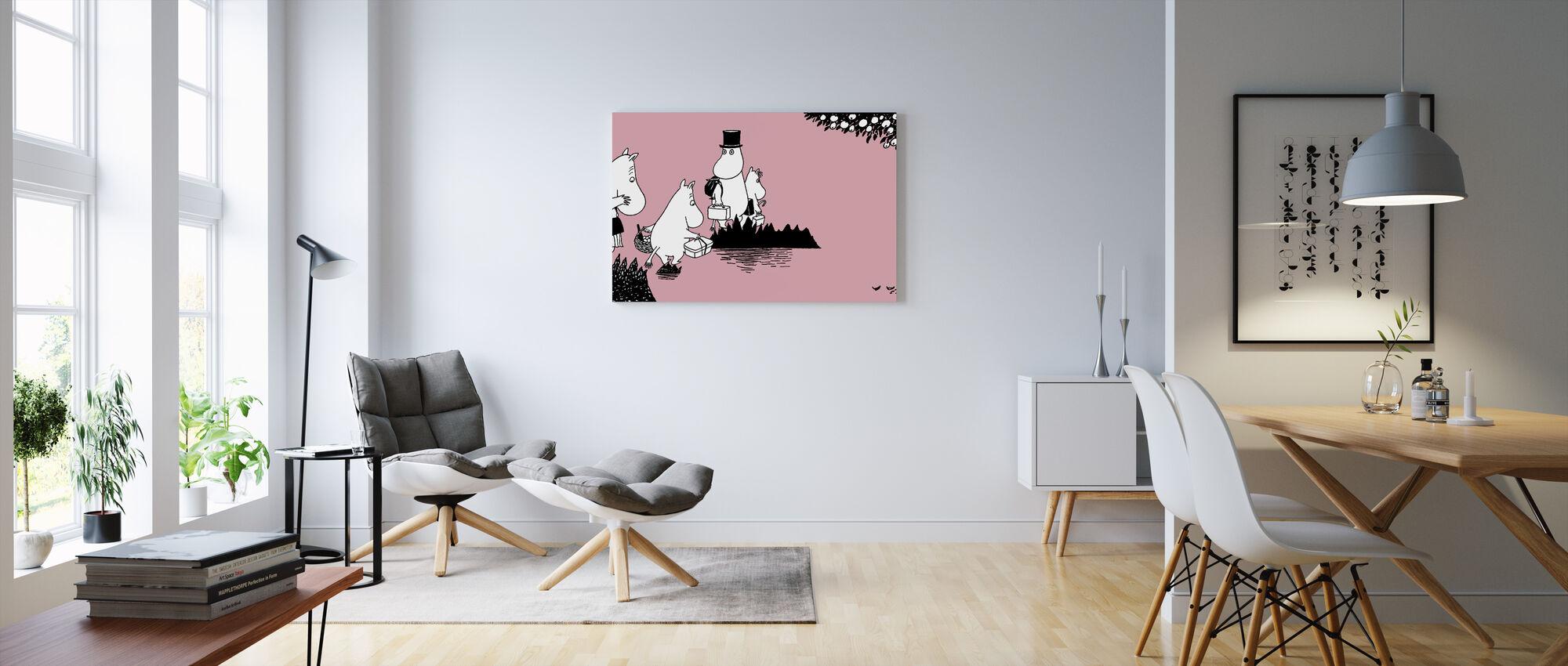 Moomin - Moomin family on Adventure – Pink - Canvas print - Living Room