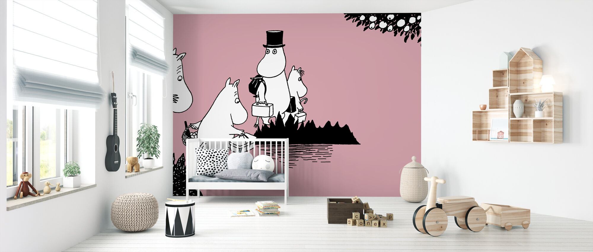 Moomin - Moomin family on Adventure – Pink - Wallpaper - Nursery