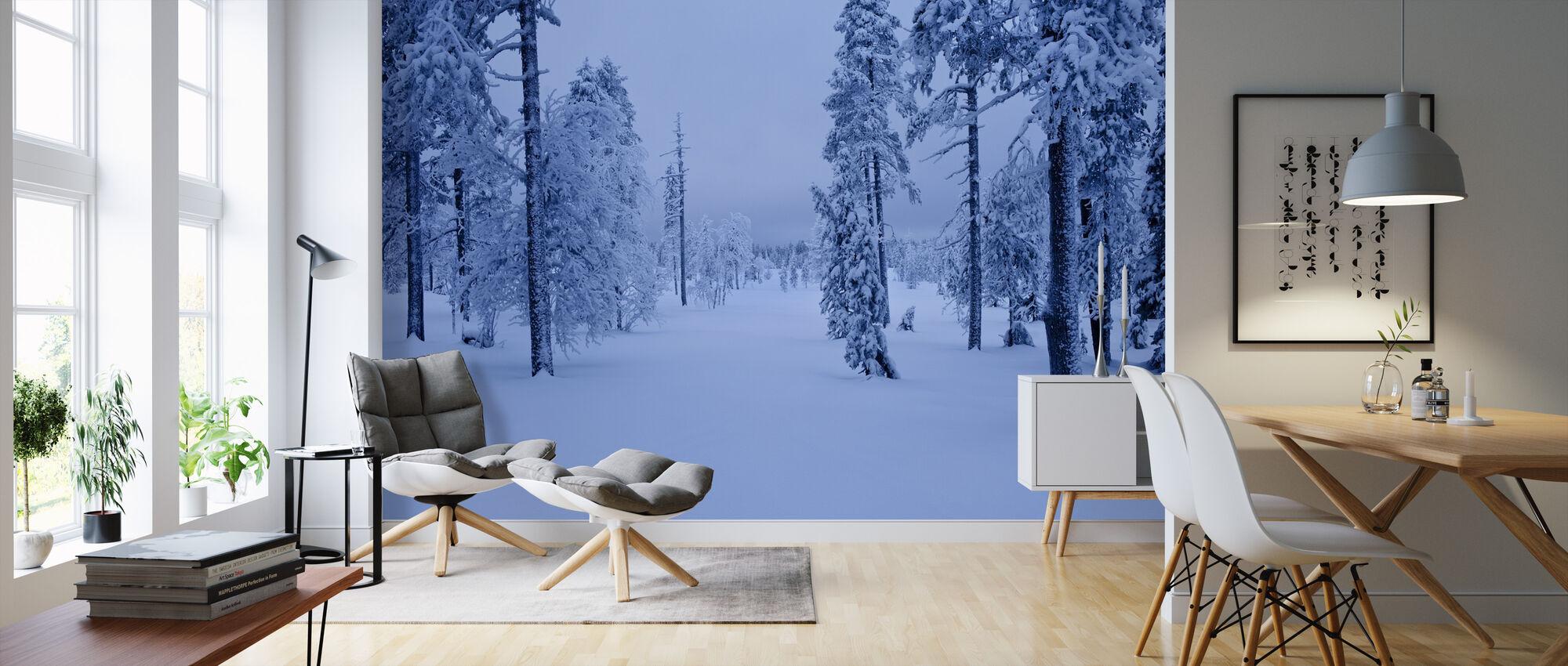 Sininen metsä Lapissa, Ruotsissa - Tapetti - Olohuone