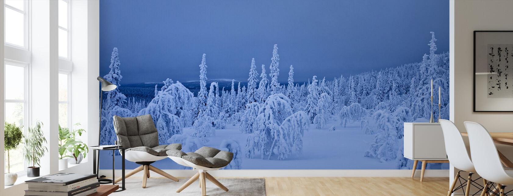 Sininen talvi Lapissa, Ruotsissa - Tapetti - Olohuone