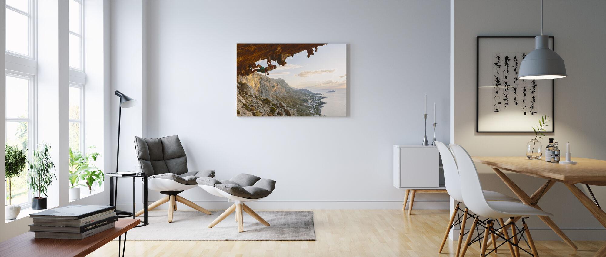 Climbing by the Aegean Sea - Canvas print - Living Room