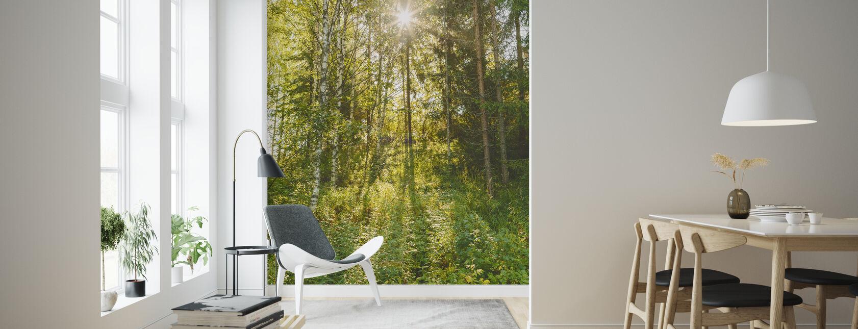 Zonovergoten bladverliezende bomen, Finland - Behang - Woonkamer