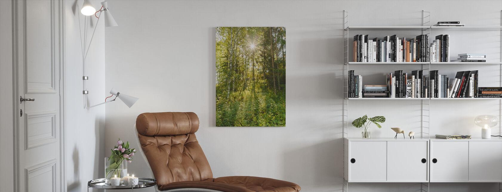 Sunlit Deciduous Trees, Finland - Canvas print - Living Room