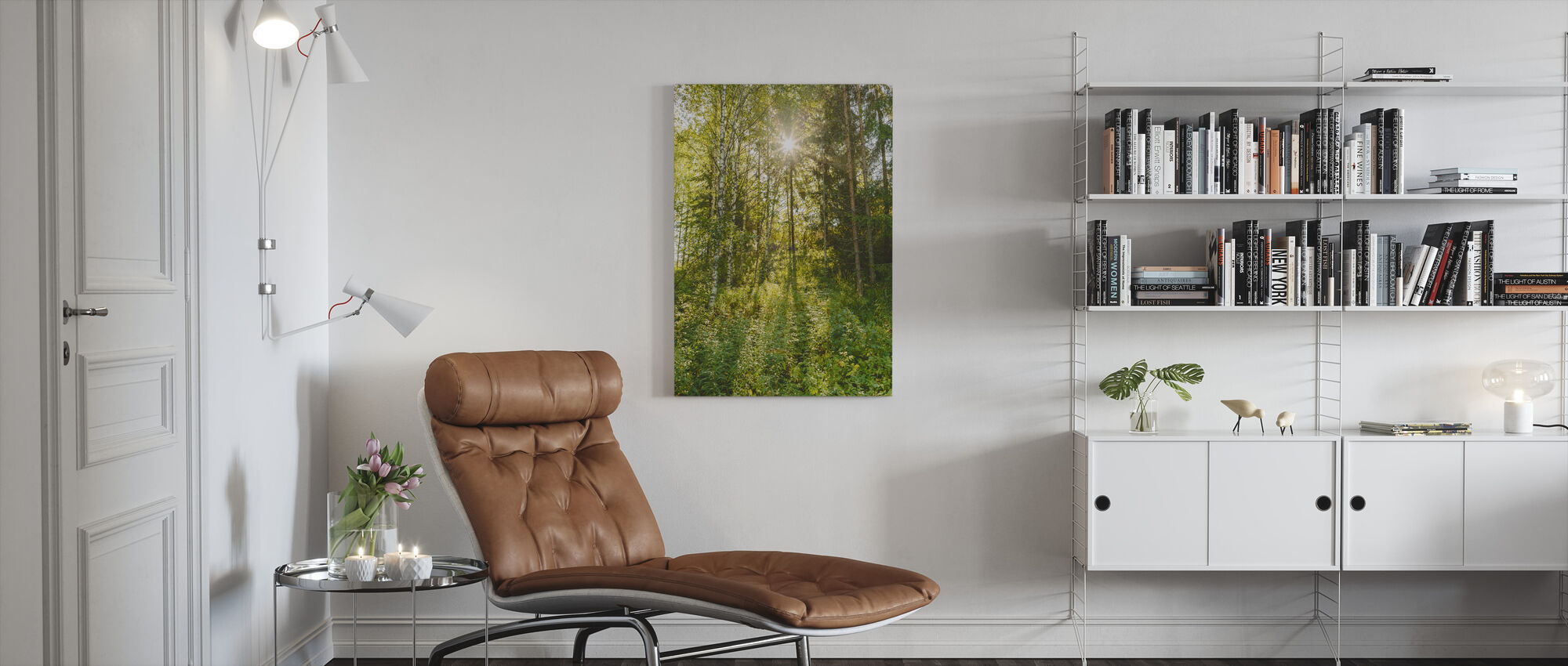 Sunlit Deciduous Trees, Finland - Canvas print - Living Room