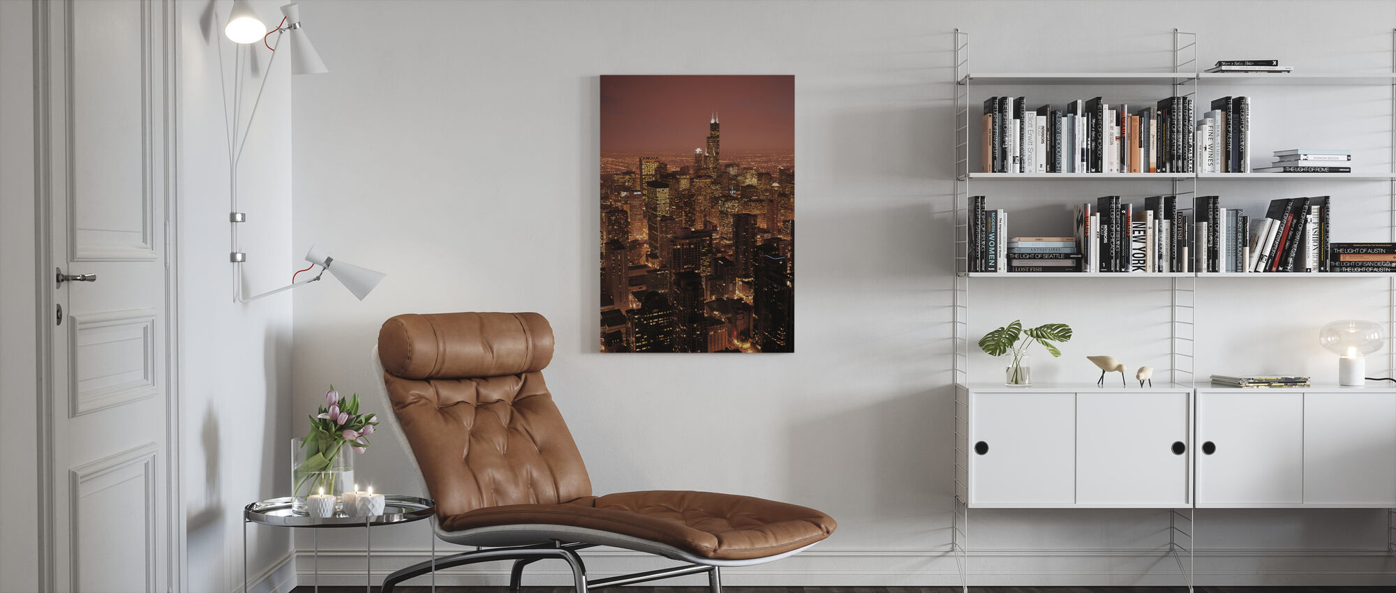 Red Evening in Chicago - Canvas print - Living Room
